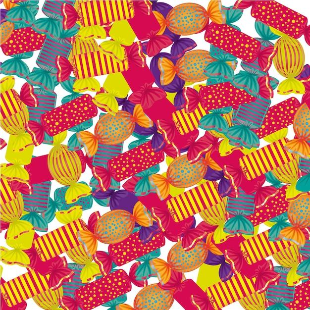 Fundo de muitos doces coloridos em muitas formas Vetor Premium