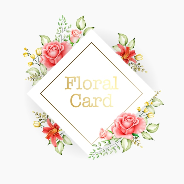 Fundo de multiusos de quadro floral aquarela Vetor Premium