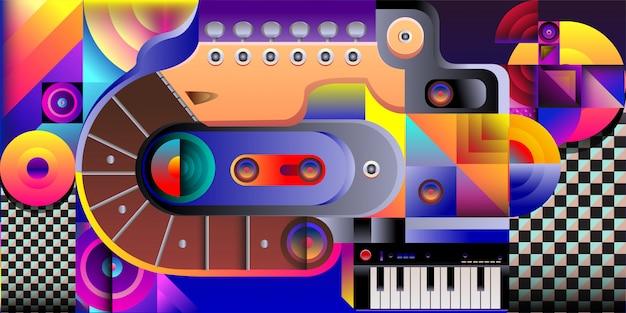 Fundo de música colorida de ilustração vetorial Vetor Premium