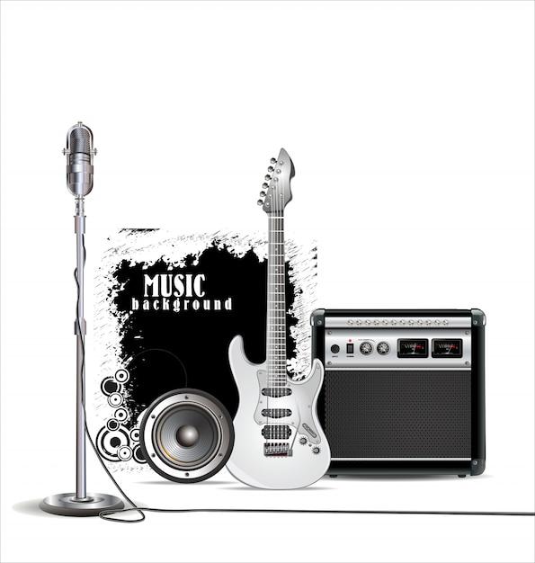 Fundo de música Vetor Premium