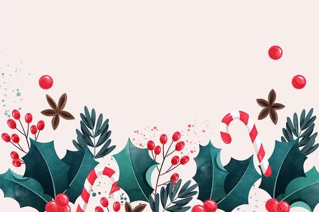 Fundo de natal aquarela Vetor grátis