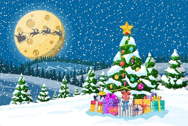 Fundo de natal. caixas de presente de árvore, papai noel monta um trenó de renas. noite inverno paisagem abetos floresta fullmoon nevando. feriado de natal de celebração de ano novo. Vetor Premium