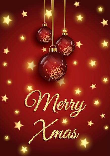 Fundo de natal cintilante com estrelas douradas e enfeites pendurados Vetor grátis