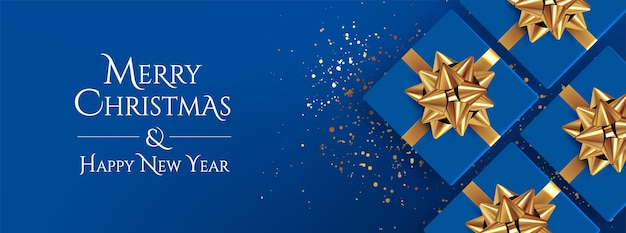Fundo de natal clássico azul natal e feliz ano novo Vetor Premium