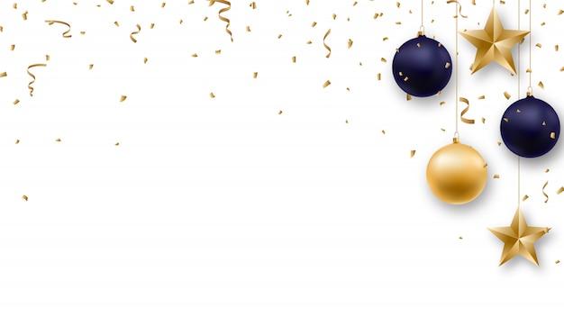 Fundo de natal com bolas brilhantes e confetes. Vetor Premium
