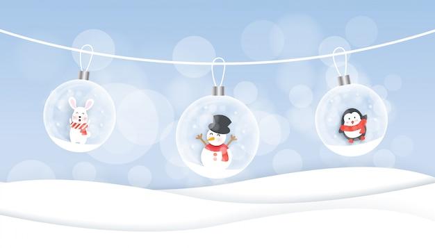 Fundo de natal com boneco de neve, coelho e pinguim no estilo de corte e artesanato de papel. Vetor Premium