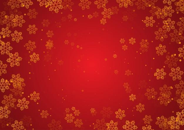 Fundo de natal com desenho de flocos de neve dourados Vetor grátis