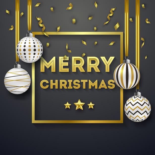 Fundo de natal com fitas douradas brilhantes e bolas ornamentadas coloridas Vetor Premium