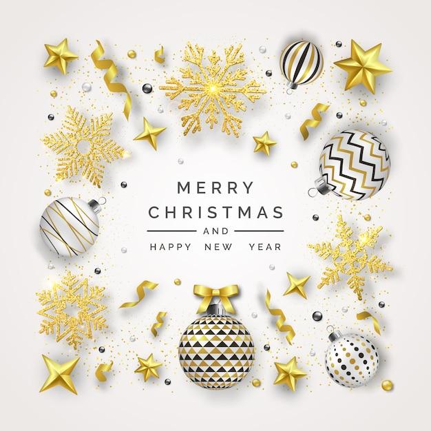 Fundo de natal com flocos de neve, arco e bolas coloridas a brilhar Vetor Premium