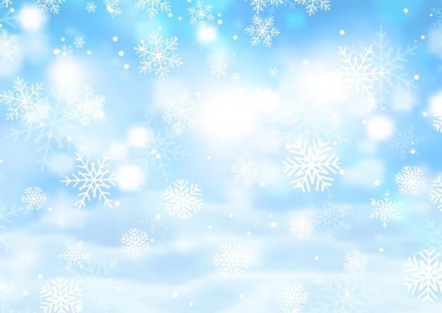 Fundo de natal com flocos de neve caindo Vetor grátis