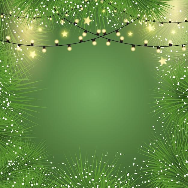Fundo de natal com luzes e galhos de árvores de abeto Vetor grátis