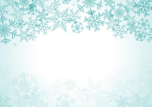 Fundo de natal com neve e cristais de gelo Vetor Premium