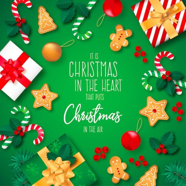 Fundo de natal com presentes e citação Vetor grátis
