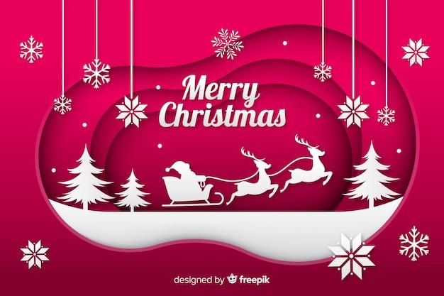 Fundo de natal com santa sleight Vetor grátis