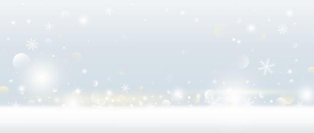 Fundo de natal de floco de neve e neve caindo com luzes de bokeh Vetor Premium