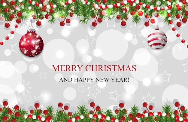 Fundo de natal, decoração de ano novo com ramos de pinheiro Vetor Premium
