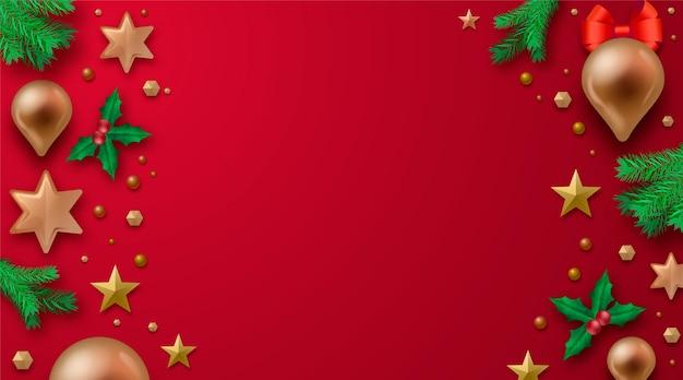 Fundo de natal decoração realista Vetor grátis