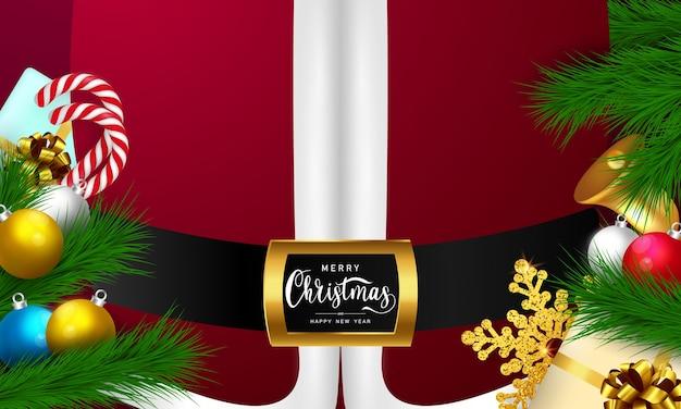 Fundo de natal feliz natal e ano novo, papai noel vermelho Vetor Premium