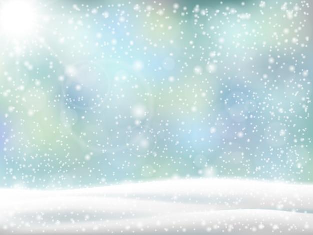 Fundo de natal. paisagem do inverno com monte de neve e neve caindo. Vetor Premium