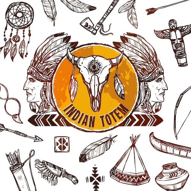 Fundo de nativos americanos Vetor grátis