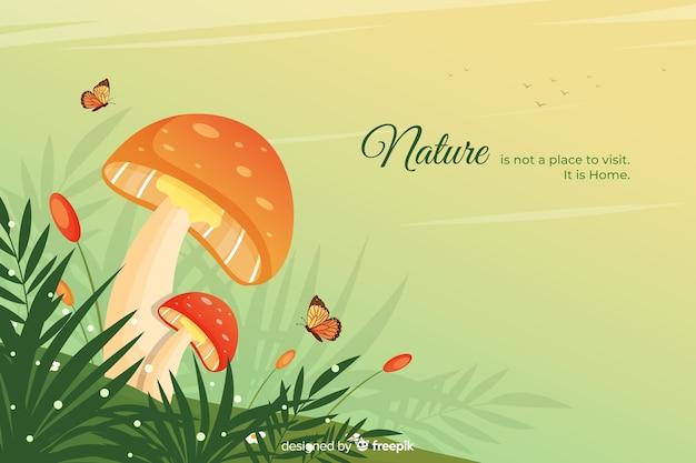 Fundo de natureza com design plano de citação Vetor grátis