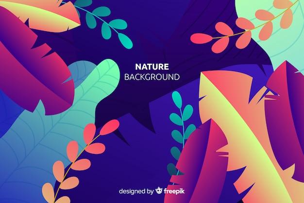 Fundo de natureza com folhas coloridas Vetor grátis