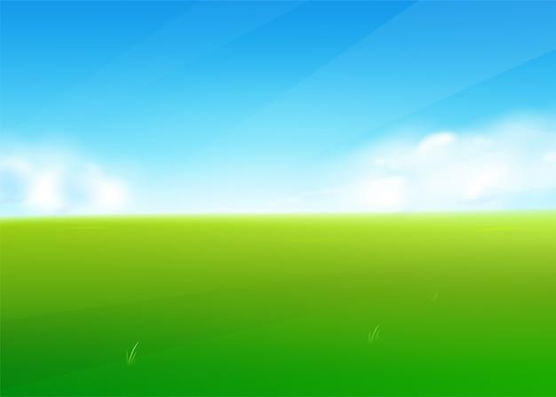 Fundo de natureza de campo de primavera com paisagem de grama verde, nuvens, céu. Vetor grátis