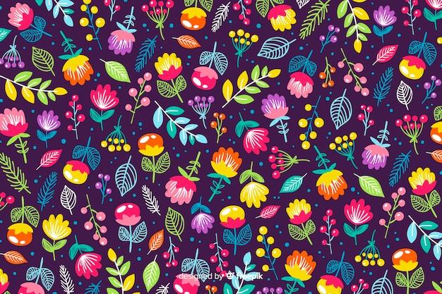 Fundo de natureza de flores coloridas Vetor grátis