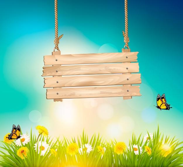 Fundo de natureza verão com grama verde e sinal de madeira. Vetor Premium
