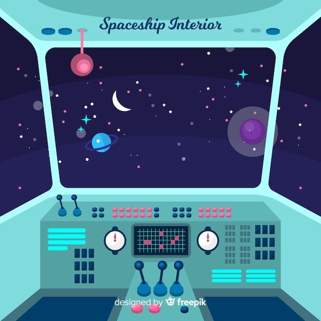 Fundo de nave espacial de dentro Vetor grátis