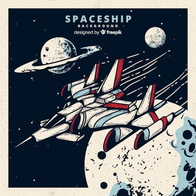 Fundo de nave espacial futurista mão desenhada Vetor grátis