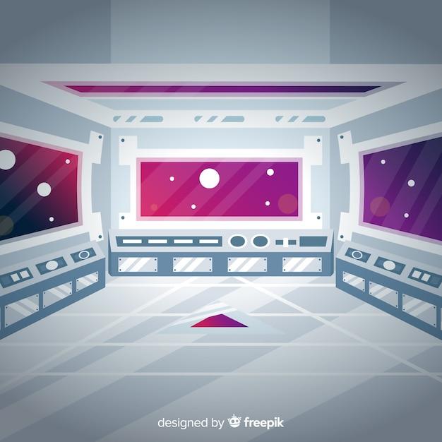 Fundo de nave espacial moderna Vetor grátis