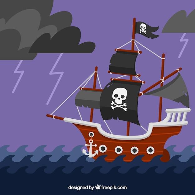 Fundo de navio pirata navegando em noite de tempestade Vetor grátis