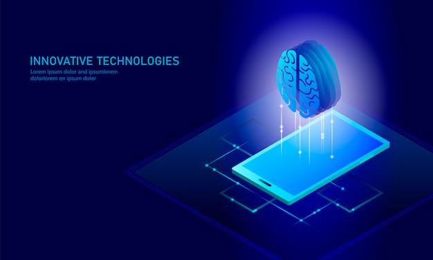 Fundo de negócios de inteligência artificial isométrica Vetor Premium