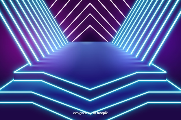 Fundo de néon de luzes de palco Vetor grátis