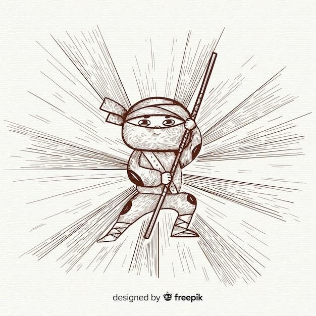 Fundo de ninja mão desenhada Vetor grátis