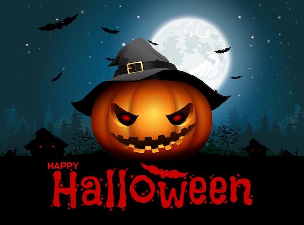 Fundo de noite de abóbora de halloween Vetor Premium