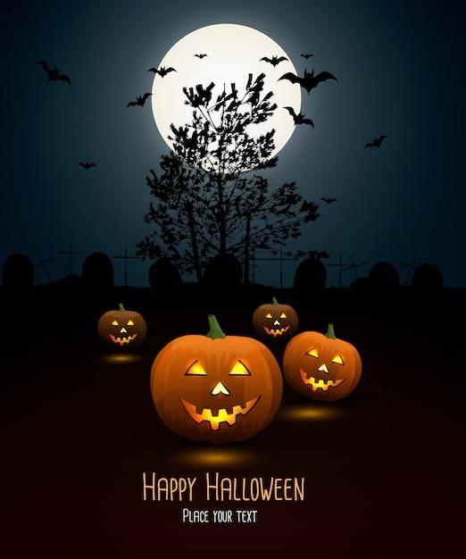 Fundo de noite de halloween com abóbora e lua cheia Vetor Premium