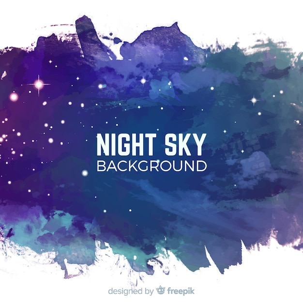 Fundo de noite estrelada em aquarela Vetor grátis