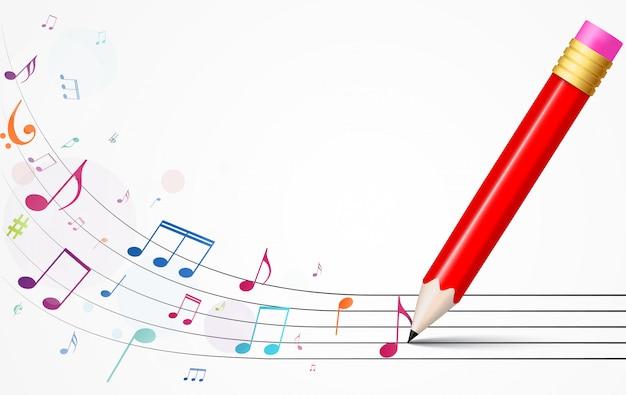 Fundo de notas de música colorida Vetor Premium