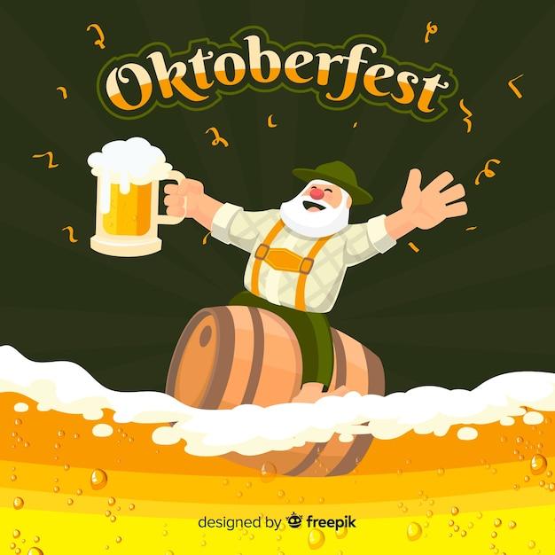 Fundo de oktoberfest com cerveja e tirol Vetor grátis