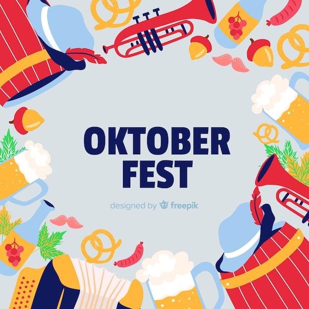 Fundo de oktoberfest com ilustrações de comida e música Vetor grátis