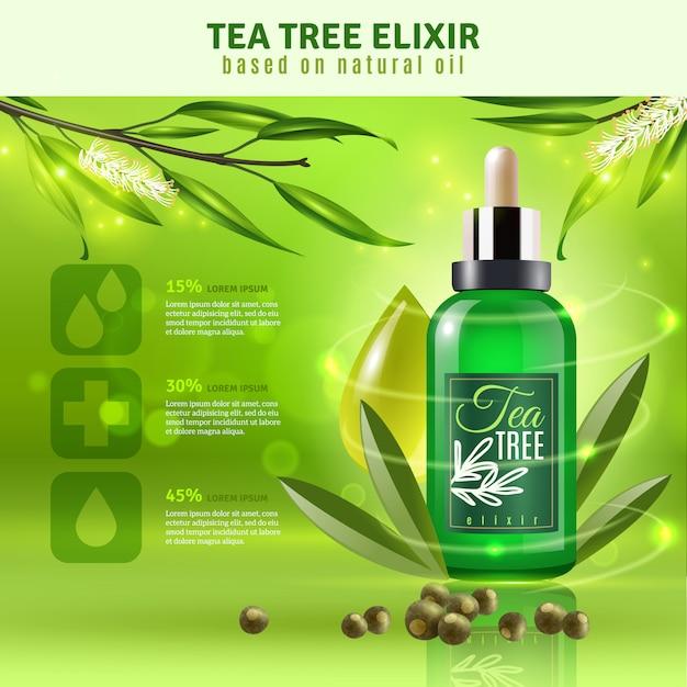 Fundo de óleo de árvore do chá Vetor grátis
