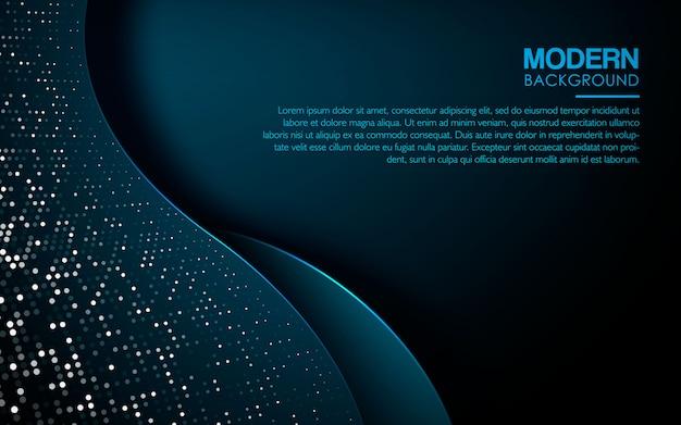 Fundo de onda abstrata azul escuro Vetor Premium