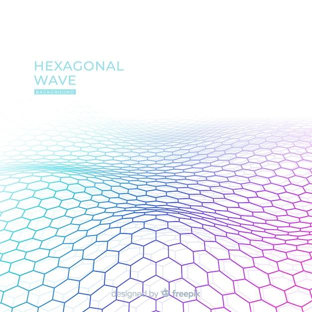 Fundo de onda hexagonal Vetor grátis