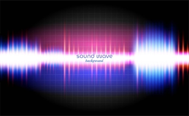 Fundo de onda sonora com luz de néon colorida Vetor Premium