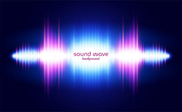 Fundo de onda sonora com luz neon vibrante Vetor Premium