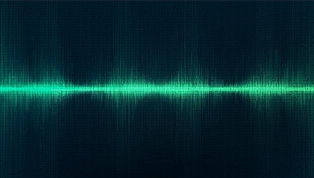 Fundo de onda sonora digital green studio Vetor Premium