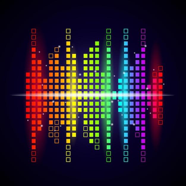 Fundo de ondas de música. o equalizador colorido dá forma ao logotipo do estúdio de visualização de voz. Vetor Premium