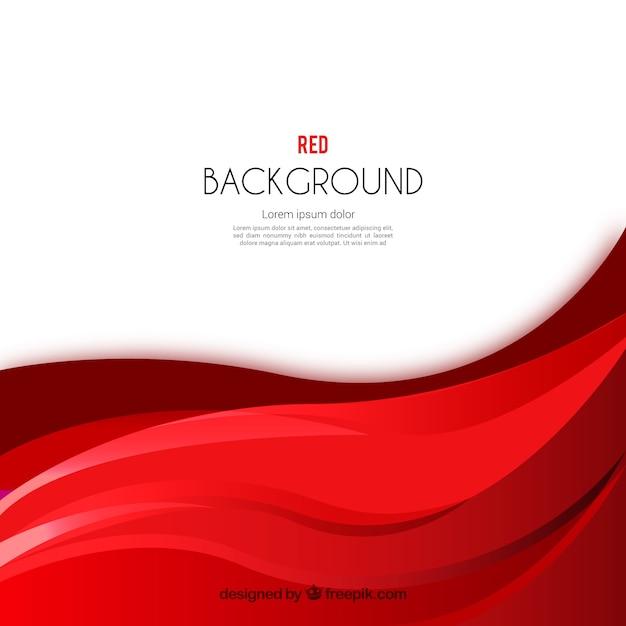 Fundo de ondas vermelhas e abstratas Vetor Premium